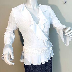 Sheer Ruffle Lace Sheer Side Waist Tie Blouse
